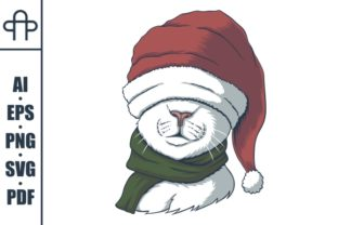 Print on Demand: Cat Wearing a Santa Hat for Christmas Graphic Illustrations By Andypp