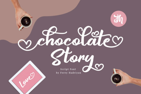 Print on Demand: Chocolate Story Script & Handwritten Font By feydesign
