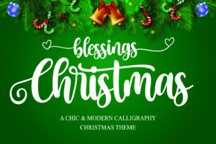 Print on Demand: Christmas Blessings Script & Handwritten Font By Mozarella