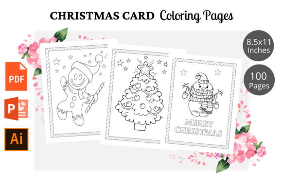 Christmas Card Coloring Pages KDP Graphic KDP Interiors By KDPWarrior