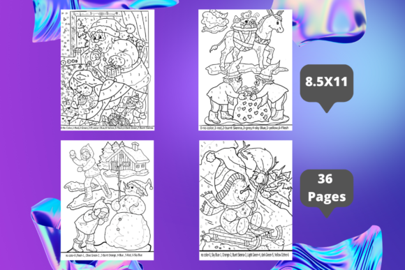 Christmas Color by Number Coloring Pages Graphic Coloring Pages & Books Kids By KDP COLORING PAGES STORE