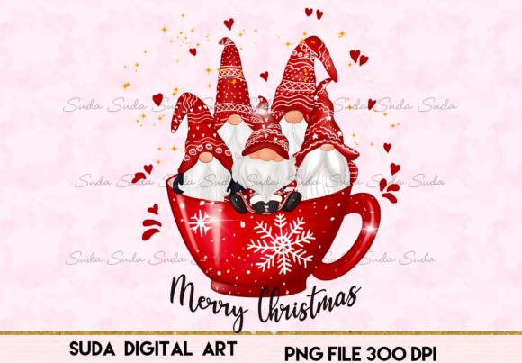 Print on Demand: Christmas Cup Cute Gnomes Sublimation Graphic Illustrations By Suda Digital Art