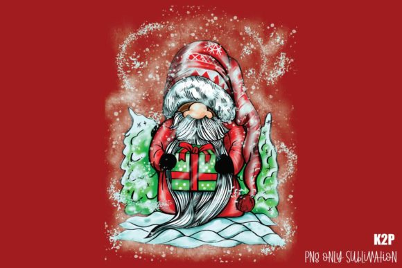 Print on Demand: Christmas Gnome Santa Claus Present PNG Graphic Crafts By KtwoP