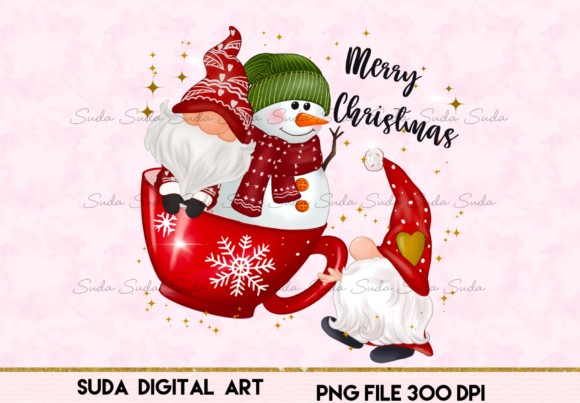 Print on Demand: Christmas Gnomes Cup Snow Sublimation Gráfico Illustrations Por Suda Digital Art
