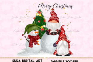 Print on Demand: Christmas Gnomes Cute Snow Sublimation Graphic Illustrations By Suda Digital Art
