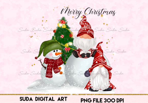 Print on Demand: Christmas Gnomes Cute Snow Sublimation Gráfico Ilustraciones Por Suda Digital Art