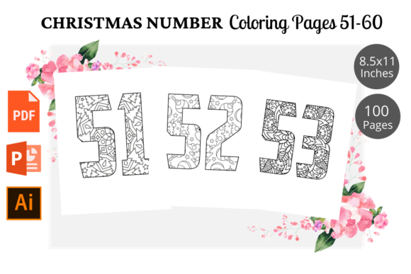 Print on Demand: Christmas Number Coloring Page 51-60 Graphic KDP Interiors By KDPWarrior