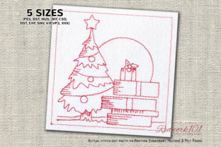 Christmas Tree with Gifts Redwork Christmas Embroidery Design By Redwork101