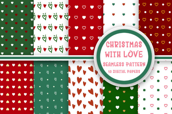 Christmas with Love Seamless Pattern Graphic Patterns By PearlyDaisy