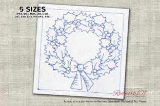 Christmas Wreath Redwork Design Christmas Embroidery Design By Redwork101
