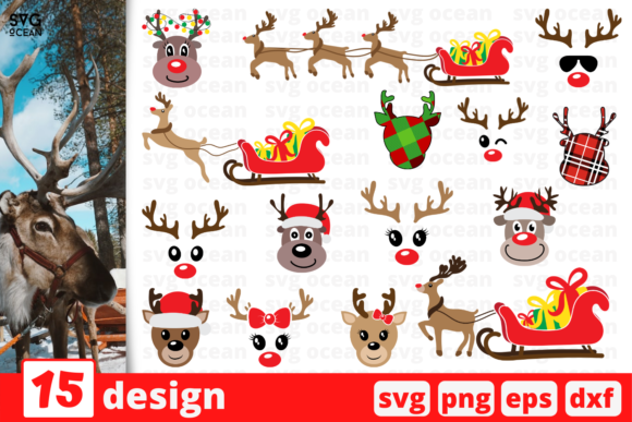 Christmas Reindeer SVG Bundle Graphic Crafts By SvgOcean