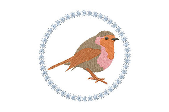 Print on Demand: Christmassy Robin Christmas Embroidery Design By EmbArt