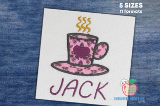 Coffee Mug with Love Applique Tea & Coffee Embroidery Design By embroiderydesigns101