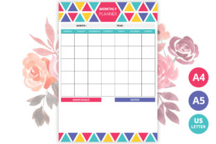 Colorful Monthly Planner Printable Graphic Print Templates By medelwardi