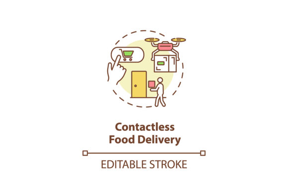 Print on Demand: Contactless Food Delivery Concept Icon Graphic Icons By bsd studio