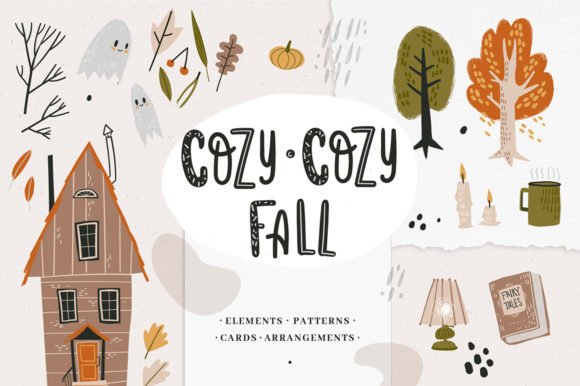 Print on Demand: Cozy-cozy Fall Clipart Collection Graphic Objects By dinkoobraz