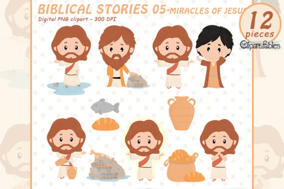 Cute Biblical Stories - Jesus Characters Graphic Illustrations By clipartfables