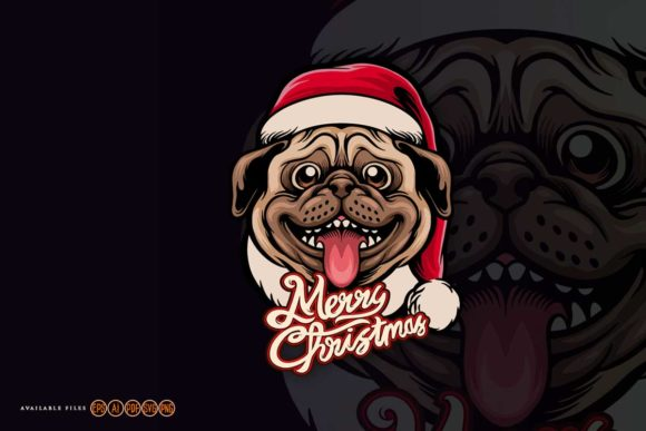 Print on Demand: Cute Pug Dog Merry Christmas Graphic Crafts By artgrarisstudio