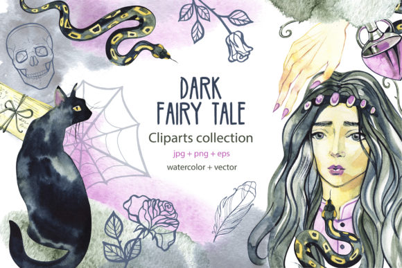 Dark Fairy Tale. Watercolor Clipart Graphic Illustrations By NataliMyaStore
