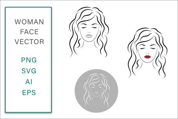 Feminine Face Vector Line Art Graphic Crafts By AS Digitale