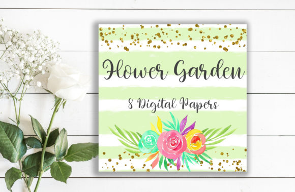 Flower Garden Background Digital Papers Graphic Backgrounds By PinkPearly