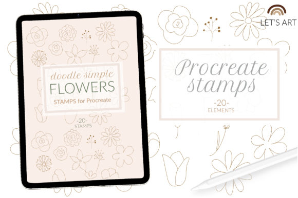 Flowers Procreate Stamps, Lineart Flower Graphic Add-ons By cyrilliclettering