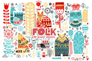 Folk. Graphic Set of Folk Elements Graphic Illustrations By LaVika