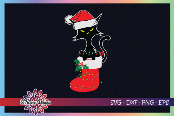 Funny Black Cat Christmas Lights in Sock Graphic Print Templates By ssflower