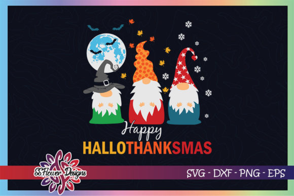 Gnomes Halloween Xmas Hallothanksmas Graphic Print Templates By ssflower