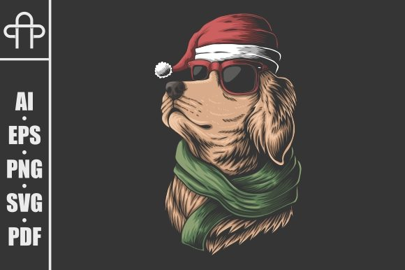 Print on Demand: Golden Retriever Dog Wearing a Santa Hat Graphic Illustrations By Andypp