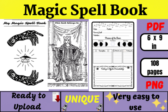 Grimoire Spell Journal KDP Graphic KDP Interiors By Wiss_Tips designs