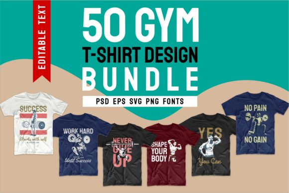 Print on Demand: Gym Workout T-shirt Design Bundle Graphic Print Templates By Universtock