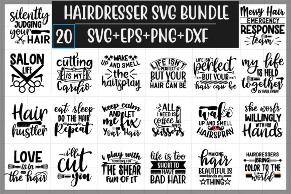 Hairdrsser Design Bundle Graphic Print Templates By creative store.net