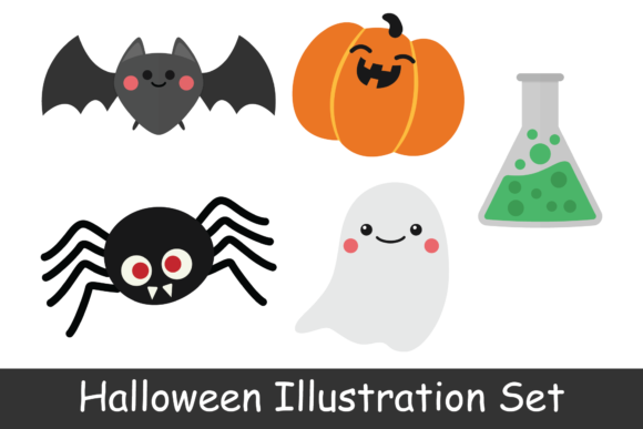 Print on Demand: Halloween Illustration Set Graphic Illustrations By studioisamu