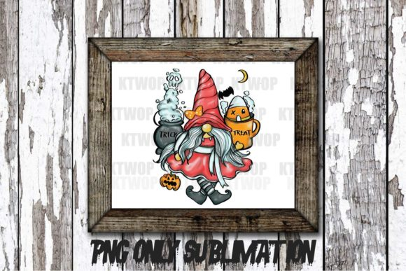 Print on Demand: Halloween-Cute Gnome-Girl Handdraw PNG Graphic Crafts By KtwoP