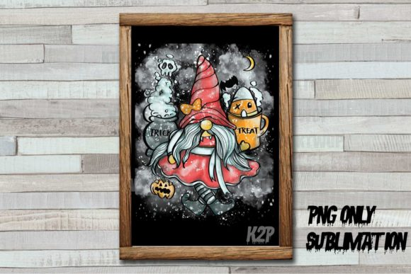 Print on Demand: Halloween-Gnome-Girl-Dirty Grunge PNG Graphic Crafts By KtwoP