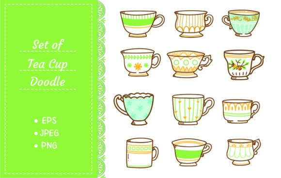 Hand Drawn Vintage Tea Cups Set Graphic Illustrations By Big Barn Doodles