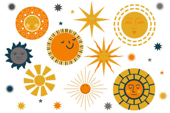Happy Pagan Sun Face Clipart Graphic Illustrations By CuteShopClipArt
