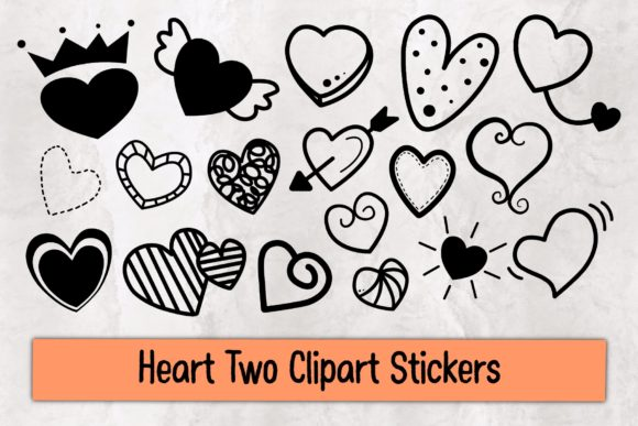 Heart Two Clipart Stickers Graphic Illustrations By TakeNoteDesign