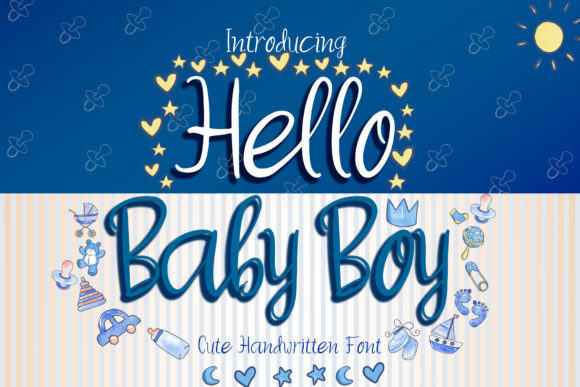 Print on Demand: Hello Baby Boy Script & Handwritten Font By boogaletter
