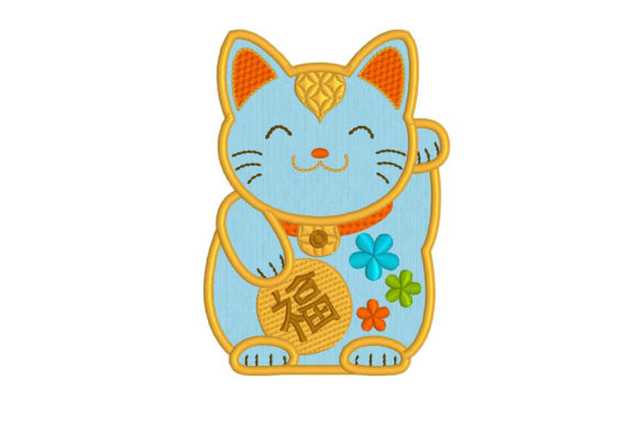 ManekiNeko Good Luck Cat Cats Embroidery Design By DNE embroidery