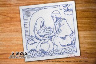 Mary with Jesus and Joseph Nativity Scene Christmas Embroidery Design By Redwork101