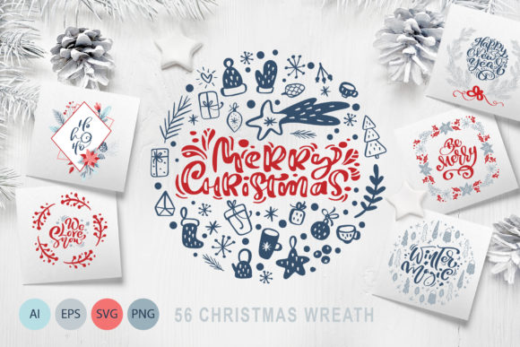 Merry Christmas Wreath Graphic Objects By Happy Letters