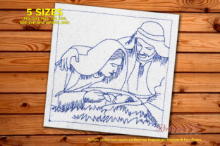 Nativity Scene with Holy Family Redwork Christmas Embroidery Design By Redwork101