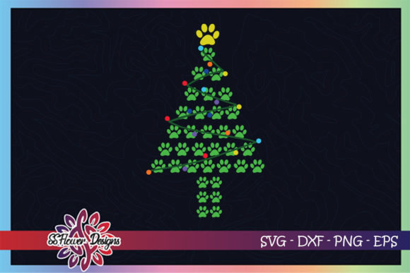 Paws Print Christmas Tree Dog Cat Paws Graphic Print Templates By ssflower