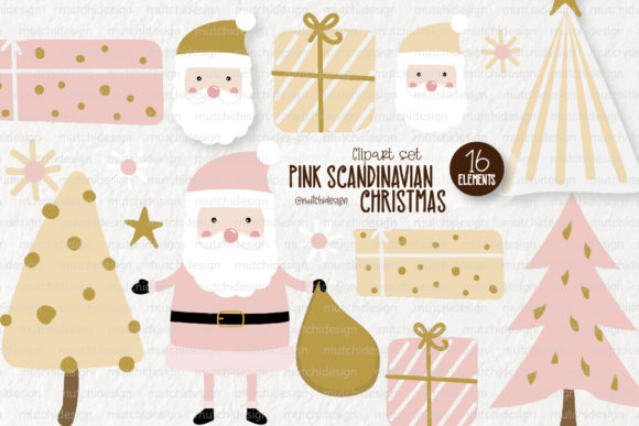 Print on Demand: Pink Scandinavian Christmas Clipart Set Graphic Illustrations By loyaarts