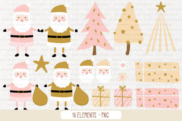 Pink Scandinavian Christmas Clipart Set Graphic Download
