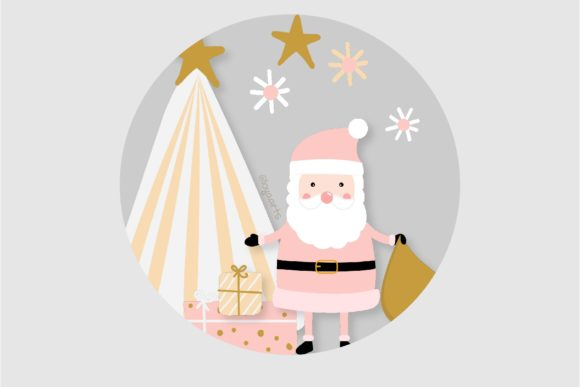 Pink Scandinavian Christmas Clipart Set Graphic Item
