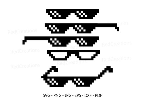 Pixel Sunglasses, Cool Glasses Graphic Crafts By RedCreations