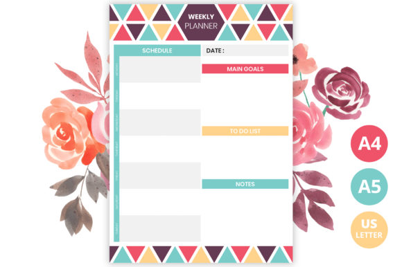 Printable Weekly Planner Template Graphic Print Templates By medelwardi
